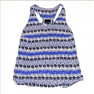 Cynthia Rowley Blue/Black/White Racerback Tank Top